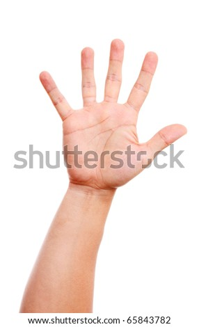 Open hand man over white background. - stock photo