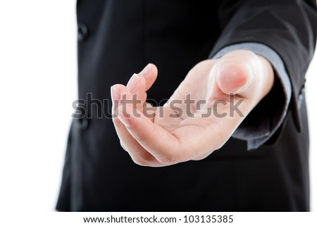 Open hand of business man - stock photo