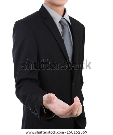 Open hand of business man against white background - stock photo