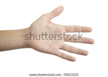 open hand on a white background - stock photo