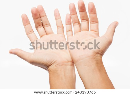 Open hand. on white background