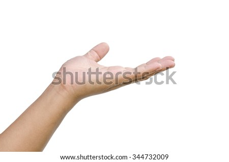 open hand on white background - stock photo