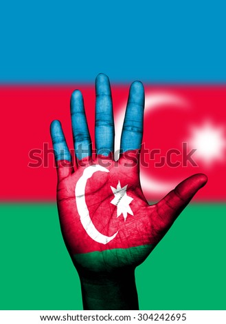 Open hand painted Azerbaijan flag painted