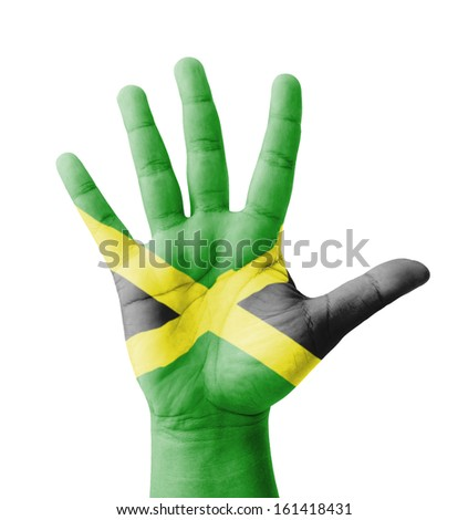 Open hand raised, multi purpose concept, Jamaica flag painted - isolated on white background - stock photo