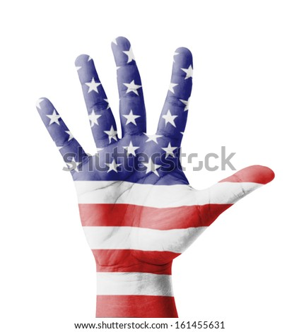 Open hand raised, multi purpose concept, USA (United States of America) flag painted - isolated on white background