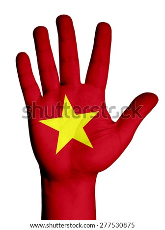 Open hand raised, multi purpose concept, Vietnam flag painted - isolated on white background - stock photo
