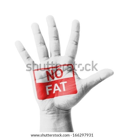 Open hand raised, No Fat sign painted, multi purpose concept - isolated on white background - stock photo