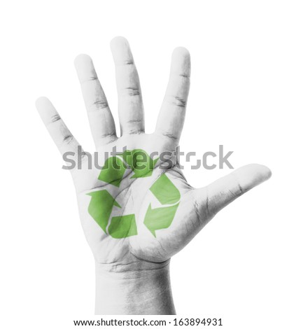 Open hand raised, Recycle sign painted, multi purpose concept - isolated on white background - stock photo