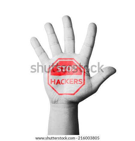 Open hand raised, Stop Hackers sign painted - stock photo