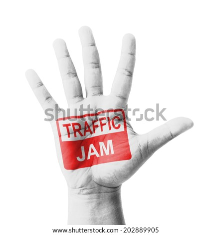 Open hand raised, Traffic Jam sign painted, multi purpose concept - isolated on white background - stock photo