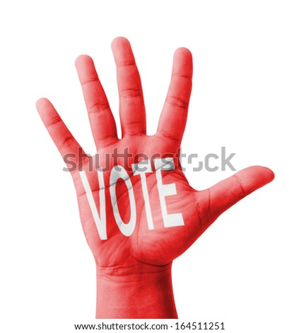 Open hand raised, VOTE text painted, multi purpose concept - isolated on white background - stock photo