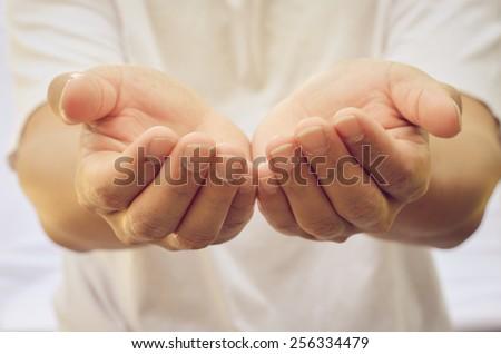 Open hands - stock photo