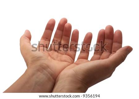 Open hands hopefully held up high. - stock photo
