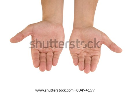 Open hands on white background. Holding, begging, giving, showing concept. - stock photo