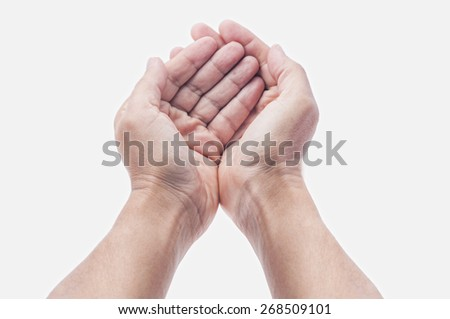 open hands with palm up isolated on white - stock photo