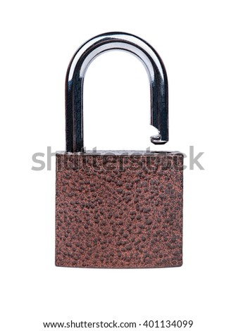Open hanging iron lock isolated on white background