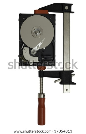 Open hard disk drive in a clamp or vise to visualize the concept of data storage and compression, isolated on white background - stock photo