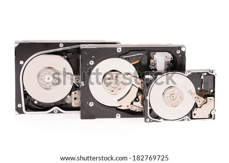 open hard disk drive isolated on white background  - stock photo