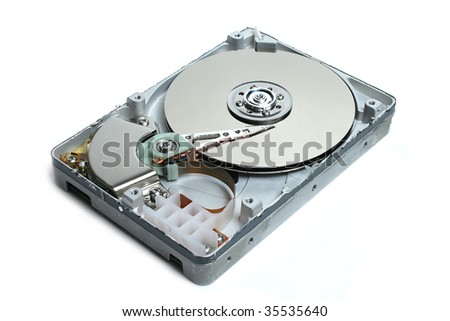Open hard disk isolated over a white background