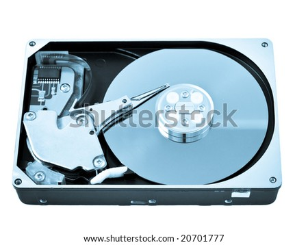 Open hard drive disk isolated on white blue toned image - stock photo