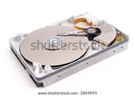 open hard drive, isolated on white background