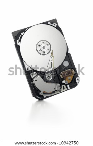 open hard drive unit standing on white background - stock photo