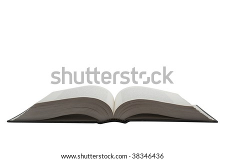 Open hardcover book seen from the front isolated on white background, saved with clipping path - stock photo
