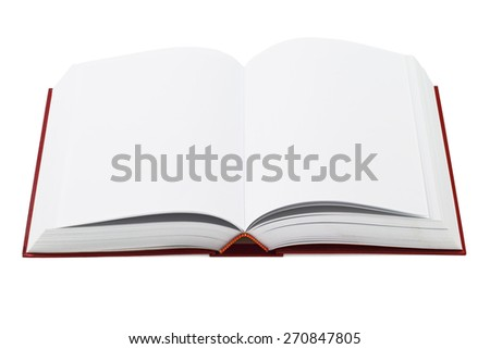 Open Hardcover Book With Blank Pages on White Background - stock photo