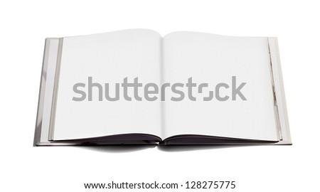 Open hardcover notebook with double spread blank white pages with copy space for your writing or text