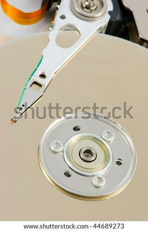 open harddisk and  heads close-up