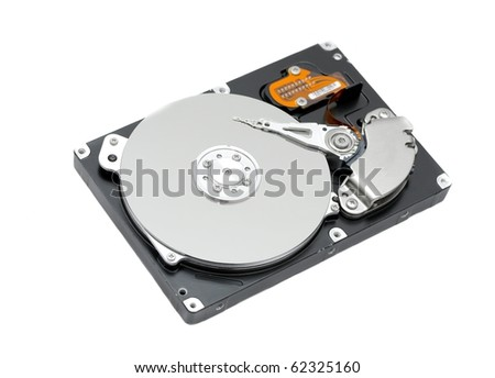 Open harddisk isolated on white background, focus on the middle of the disk - stock photo