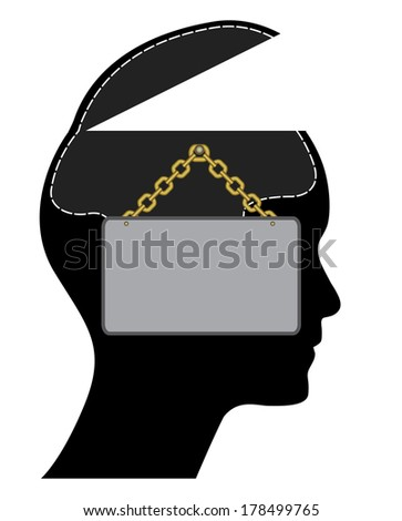 Open head with sign and golden chain, creative illustration. - stock photo