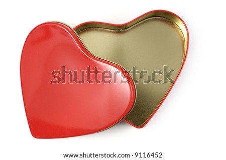 Open heart-shaped gift box Isolated on white background
