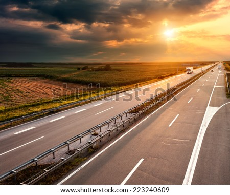 Open highway at sunset, near Belgrade in Serbia - stock photo