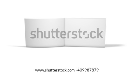 Open horizontal long two pages brochure standing on floor isolated on white background, 3d rendering. - stock photo