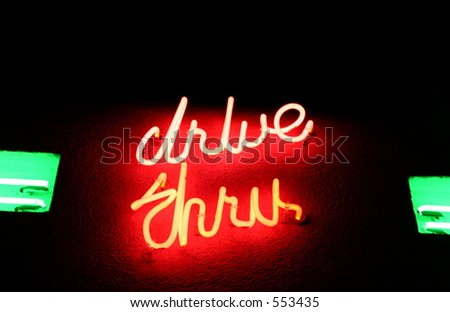 Open 24-Hours (Drive-Thru Sign) - stock photo