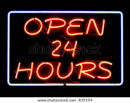 Open 24 Hours neon sign - stock photo