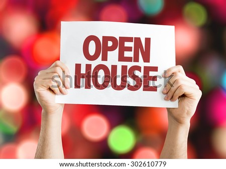 Open House card with bokeh background - stock photo