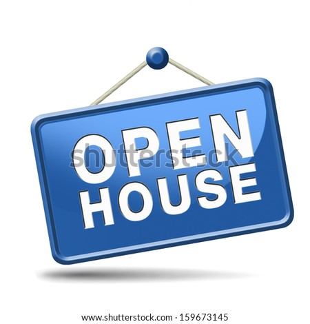 Open house icon visit a model house before you buy or rent a new home or other real estate property  - stock photo