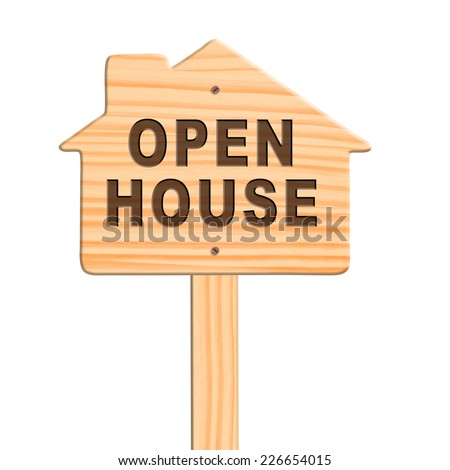 Open house sign isolated in white background, clipping path. - stock photo