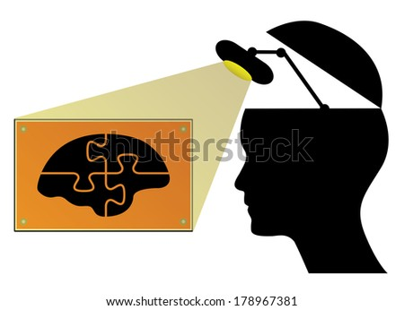 Open human head with lamp and brain, creative business concept illustration. - stock photo