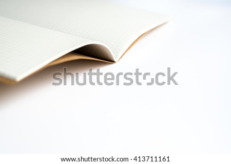 Open isolated blank notebook with line on each page on white background
