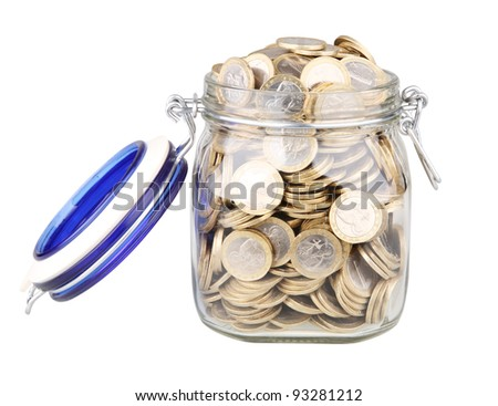 open jar full of coins isolated on white with clipping path - stock photo