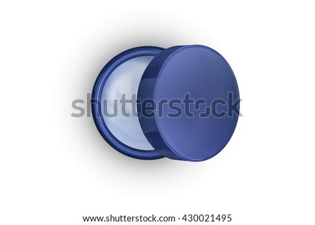 Open jar with skin care cream. Creative concept. Top view. Isolated on a white background - stock photo