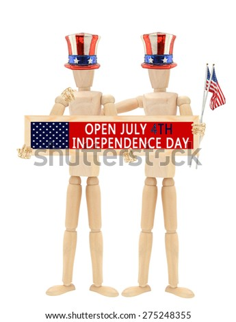 Open July 4th Independence Day sign Mannequins wearing patriotic hats holding USA national flag isolated on white background - stock photo