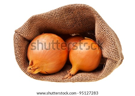Open jute sack with ripe onions isolated over white background. - stock photo
