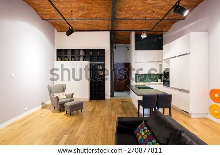 Open kitchen and drawing room in modern style - stock photo