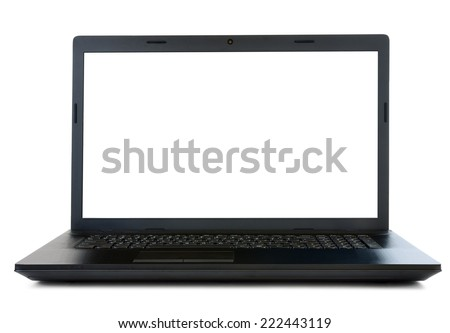 Open laptop isolated on white background - stock photo