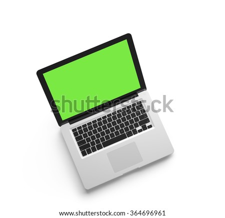 Open laptop isolated on white background. Top view. 3D render. - stock photo