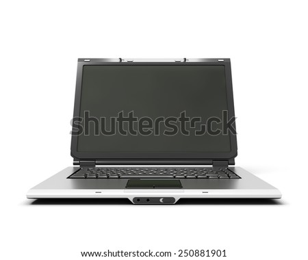 Open laptop notebook front view isolated on white background